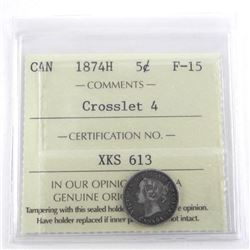 1874H Canada Silver 5 Cent F-15 Crosslet 4
