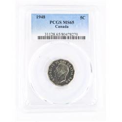 Canda 1948 5 Cents PCGS. MS65. (MXR)