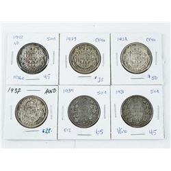 Grouping (6) Canada Silver 50 cent (MCG)