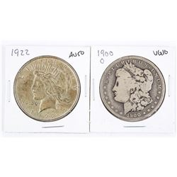 Lot (2) USA Silver Dollars. 1900 and 1922.