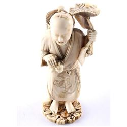 """Estate Hand Carved Chinese Man Sculpture 4.5"""" (ME"""