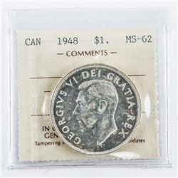 1948 CAD Silver Dollar MS62. ICCS (MKRR)