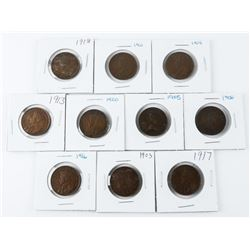 Lot (10) Canada Early Large One Cent Coins