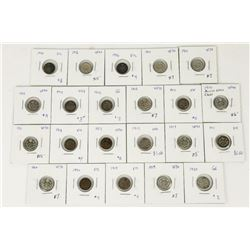 Estate Lot (22) Canada Silver 5 Cents Mixed (SOK)
