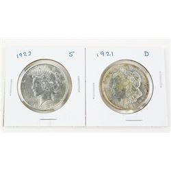 Lot (2) USA Silver Peace Dollars 1921 (D) and 1923