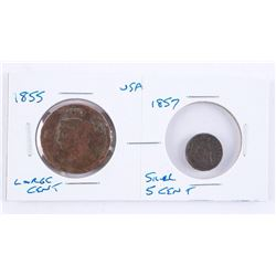 Grouping (2) 1855 USA Large Cent and 1857 Silver 5