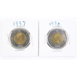 Group of (2) 1996 and 1997 Canada 2.00 Coins