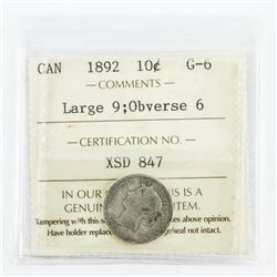Canada 1892 Silver 10 Cent. G-6. ICCS. (OXR)