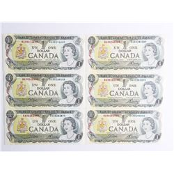 Lot (6) Bank of Canada 1973 1.00 (BAX) Prefix BC46