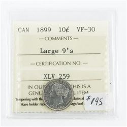 Canada 1899 Silver 10 Cent. VF-30. Large 9's (SAE)