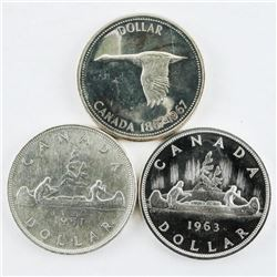 Group (3) CAD Silver DollarS: 1951, 1963, 1967