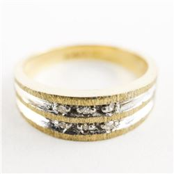 Estate 10kt Gold Band Ring Channel Set, Diamonds S