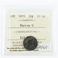 Canada 1870 Silver 10 Cent. Narrow (O)