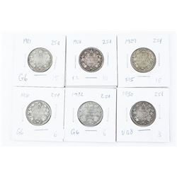 Group of (6) Canada Silver 25 Cent Early George
