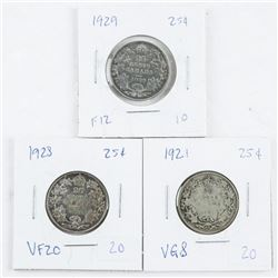 Group of (3) Canada 25 Cents 925 Silver 'George'