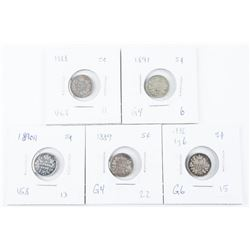 Group of (5) Canada 925 Silver 5 Cent: 1886 LG6/18