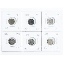 Group of (6) CAD 925 Silver 5 cents: 1892,1893, 18