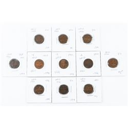 Lot (11) NFLD 1 Cent Coins - Mixed