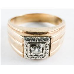 Estate Gents 10kt Diamond Solitaire Ring Size 8.5