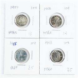 Group of (4) Canada Silver 10 Cent: 1940s and 1950