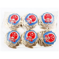 Lot (6) Chinese 'People's Police' Obsolete Cap Bad