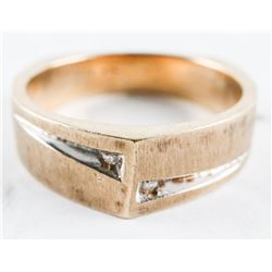 Estate 10kt Gold Band Ring with 2 Diamonds. Size