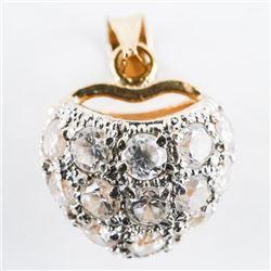 Estate 18kt Gold Ball Pendant with Swarovski Eleme