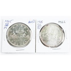 Group (2) 1965 Type Silver Dollars, SB/B5 and SB/P