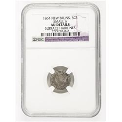 1864 N.B. 5 Cents Small 6 Surface hairlines NGC (S