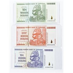 Group of (3) Reserve 'Bank of Zimbabwe' 3 Notes as