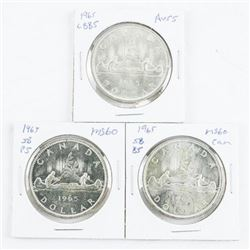 Group (3) Types Canada Silver Dollar, 1965,