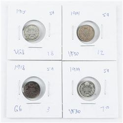 Group (4) Canada 925 Silver 5 Cents: