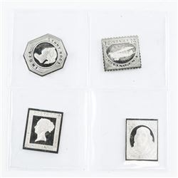 Group of (4) 925 Solid Sterling Silver Stamps