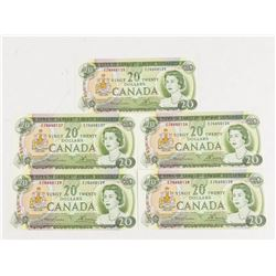 Group of (5) Bank of CANADA 1969 20.00 BC-50b EZ