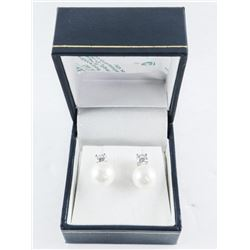925 Silver Pearl Earrings with Swarovski Elements
