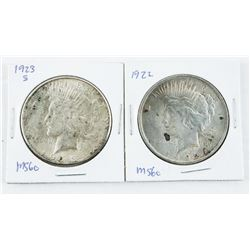 Lot (2) USA Silver Dollars 1922 and 1923 (S) (MS60