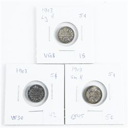 Group of (3) Canada Silver 5 Cents: 1903, 1903 LG-