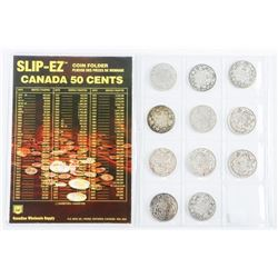 Collection - 10 Canada Silver 50 Cent Coins - Earl