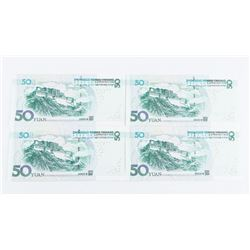 Lot (4) CHINA 50 Yuan Notes UNC In Sequence
