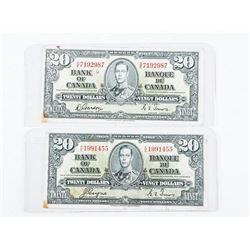Lot (2) Bank of Canada 1937 20.00 2 Signature Sets