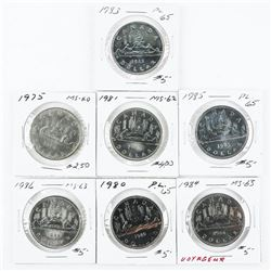 Group of (7) Canada Nickel Dollars - (2x2)