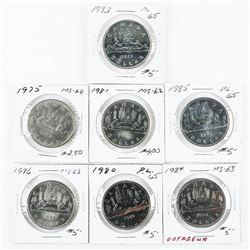 Group of (7) Canada Nickel Dollars - (2x2)