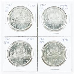 Group of 4 Types 1965 Canada Silver Dollar