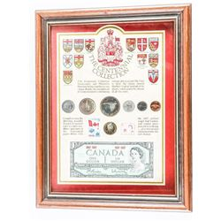 The Centennial Collection 1867-1967 Note and Coins Framed. 11x14""