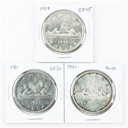Group of (3) CAD Silver Dollars: 1959-1960-1961