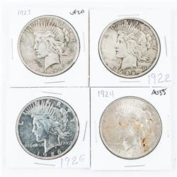 Group (4) USA Silver Peace Dollars - 1922, 1923, 1924, 1926