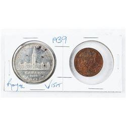 1939 CAD Silver Dollar, Plus 1939 RCM Silver Medal Royal Visit