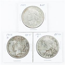 Lot (3) USA Silver Peace Dollars - 3 Mints 1922-1922(S)-1922(D)