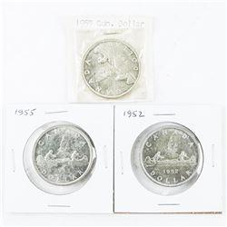 Lot (3) CAD Silver Dollars: 1952,1955, 1957