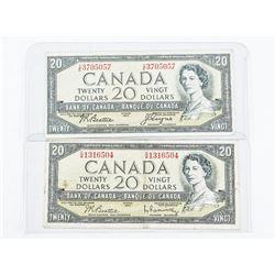 Lot (2) Bank of Canada 1954 20.00 Devil's Face 2 Signature Sets